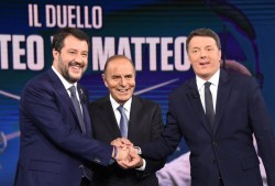Matteo Salvini e Matteo Renzi con Bruno Vespa