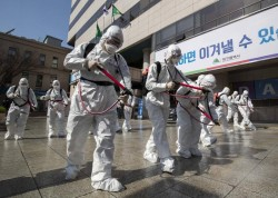 Un'opera di sanificazione in Corea del Sud