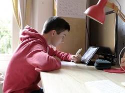 Uno studente segue le lezioni online da casa